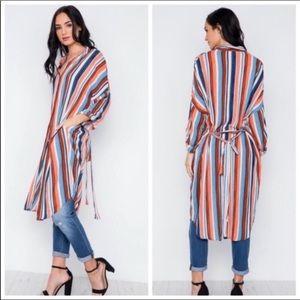 Duster Kimono Long Cardigan Dress Stripe Blue S&M
